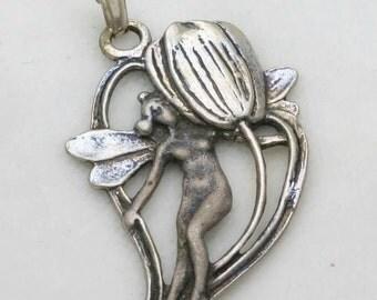 Vintage Art Nouveau 925 Silver Fairy Pendant Tulip Heart Charm Oxidized 1970's