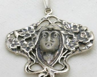 Vintage Art Nouveau Pendant Sterling Silver Lady Fairy Flowers 1970's