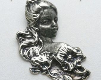 Vintage 925 Sterling Silver Art Nouveau Victorian Lady Pendant 1970's Flower