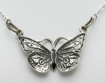 Vintage Black Enamel 925 silver Butterfly Necklace Pendant sterling Chain