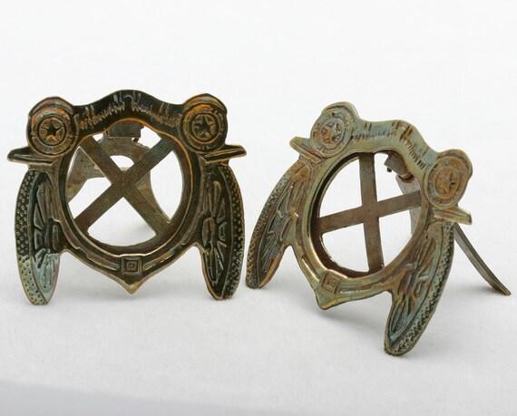 Vintage Art Nouveau Antique Car Brass Picture Frames (2) Set