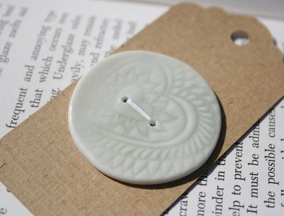Ceramic Button: Pale green impressed, large
