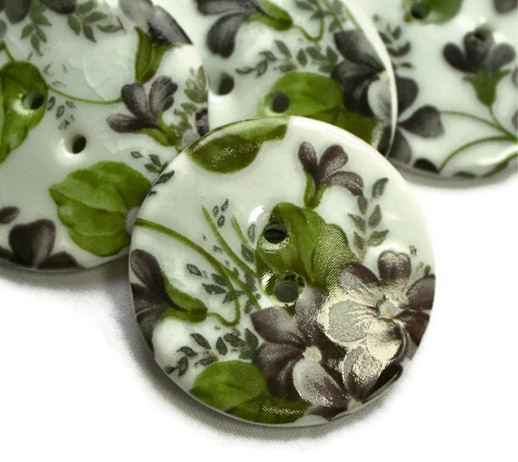 Black Violet button, chintz, ceramic, Goth inspired