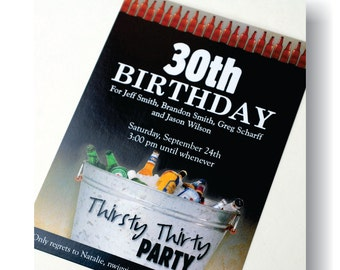 Thirsty Thirty Birthday Party Invite