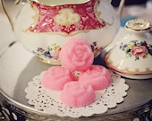 Vintage Tea Party Rose shaped Sugar cubes colored to match your shabby chic event