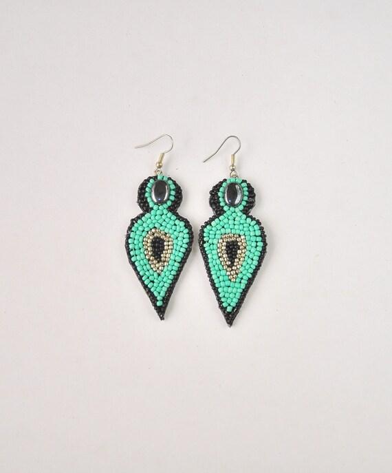turquoise glass bead earrings