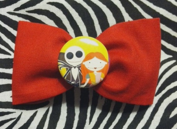 Sale Kawaii Jack Skellington Sally Hair Bow Nightmare Before Christmas Bow Tie Red Black Whats this....whats this