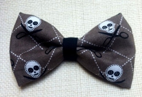 Skulls Day of the Dead Hair Bow Scissors Brown Gray Rockabilly Scene Kawaii Time for a Snip