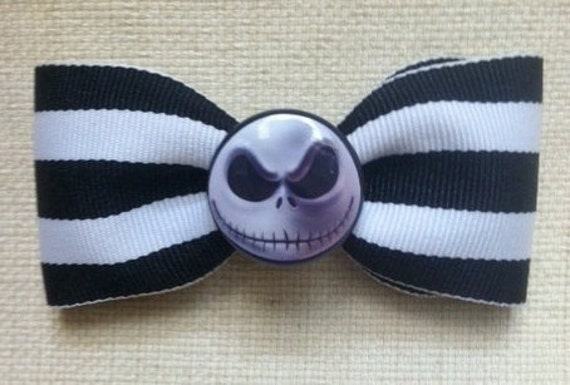 Sale Jack Skellington Hair Bow The Nightmare before Christmas black and white striped hair bow rockabilly scene women children