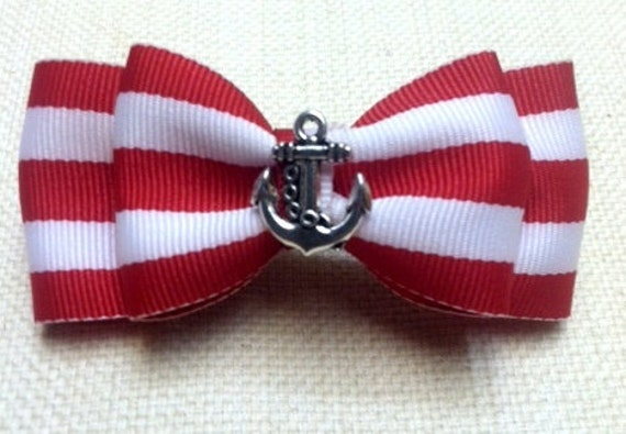 Rockabilly Nautical Anchor Red White Striped Double Hair Bow for Women Children Kawaii Pin up
