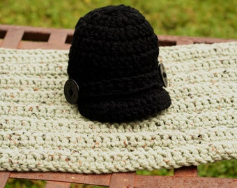 Newborn Military Style Crochet Hat and Mat