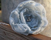Powder Blue Layered Fabric Flower