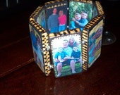 wooden photo bracelet w/heart charm and beads is personalized with your photos & is reversible.