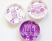 Music Magnets, Fridge Magnets, Glass Magnets, Kitchen Magnets, Rock, Music, gift for teenager