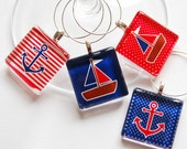 Sailing wine charms, Nautical, Wine Glass Charms, Wine Charms, Glass Wine Charms, Sailing, Anchor, Sailboat