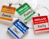 Custom Wine Charms, Wine Charms, Barware, Name Tags, Glass Wine Charms, Colorful, customize, personalize, my name is
