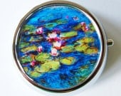 Monet, Water Lilies, Pill Box, Pill Case, Pill Container, case, Mint Container, Candy Container, Blue, French Painting