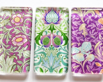 Flower Magnets, Art Deco, Abstract Design, Magnets, Fridge Magnets, Purple, Green, kitchen magnets, glass magnets, Radiant Orchid
