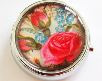 Flower Pill Box, Pill Case, Pill Container, Floral, Mothers Day Gift, Gift for her, gift for mom, Candy container, mint case, Rose