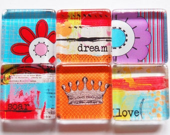 Magnets, Dream, Soar, Love, Glass Magnets, Fridge Magnets, Abstract magnets, Colorful, inpirational magnets