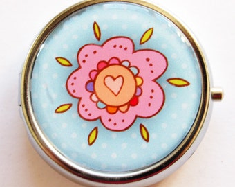 Flower Pill Box, Pill Case, Pill Container, Floral, Mothers Day Gift, Gift for Mom, Candy container, mint case, Blue, Pink (725)