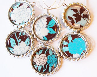 Flower wine charms, Wine Charms, Wine Glass Charms, Wine accessories, Flowers, Floral, Brown, Blue