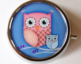 Owl Pill Box, Pill Case, Pill Container, Pink, Gift for her, blue, owl, Mint case, Candy container, owl pill case (1295)