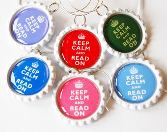 Book Club, Keep Calm Read On, Wine Glass Charms, Wine Charms, Reading, read wine charms, Bottlecap wine charm, book lover
