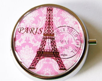 Paris Pill Box, Pill Case, Pill Container, Gift for her, Mint case, Candy container, Paris, Eiffel Tower, Pink