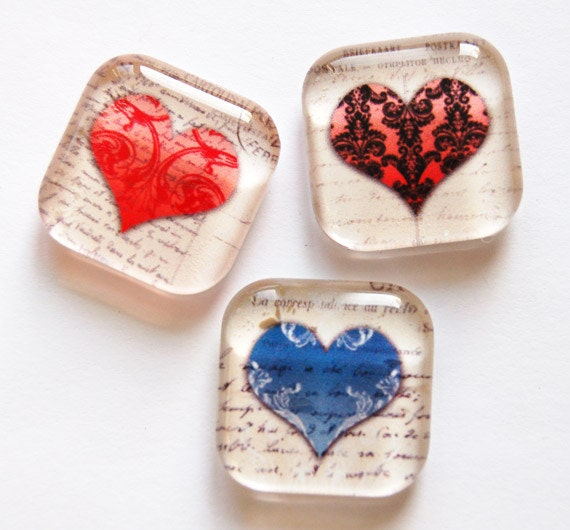 Heart glass magnets fridge magnets heart magnets valentines for Small magnets for crafts