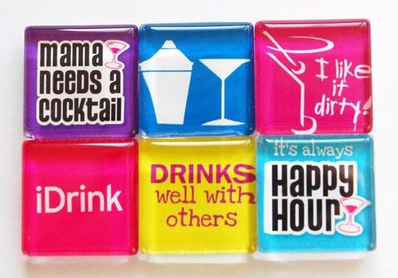 Refrigerator Magnet Godmother Godparent Quote Pink: Magnets Drink Magnets Glass Magnets Fridge By KellysMagnets