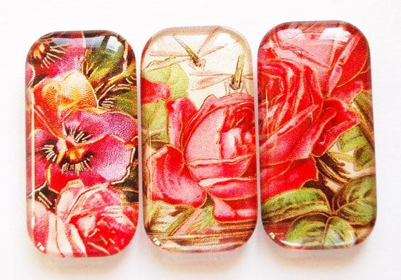 Flower Glass Magnets, Fridge Magnets, Flower Magnets, Rose Magnets, Glass Rose