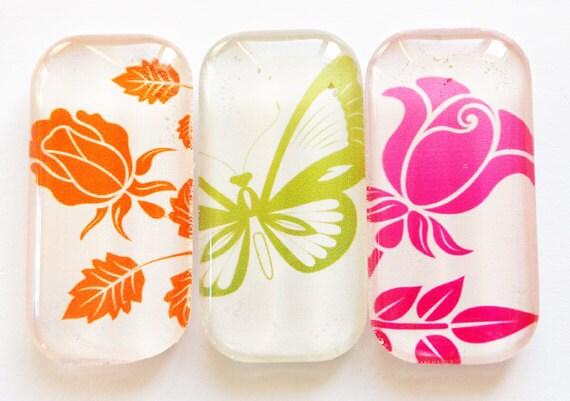 Flower Glass Magnets, Fridge Magnets, Flower Magnets, Rose Magnets, butterfly, flower