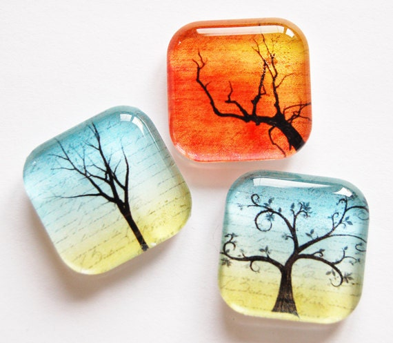 Tree Magnets, Glass Magnets, magnets, Fridge Magnets, Kitchen Magnets, Trees, Office, Stocking Stuffer