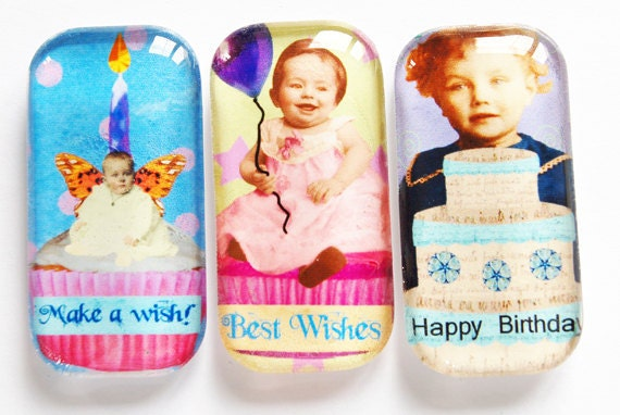 Birthday Magnets, Fridge Magnets, Happy Birthday, Birthday Gift, Glass Magnets, Party Favor