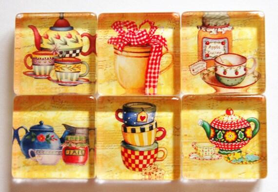 Magnets, Tea Magnets, Drink Magnets, teapot magnets, fridge magnets, tea, tea cups, teapot, kitchen magnets