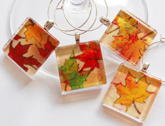 Thanksgiving Charms, Wine Glass Charms, Wine Charms, Glass Wine Charms, Leaves, Autumn, Fall, Fall Leaves