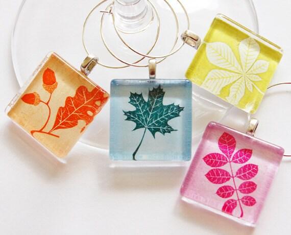 Wine Glass Charms, Wine Charms, Glass Wine Charms, Leaves, Nature, Pastel Colors