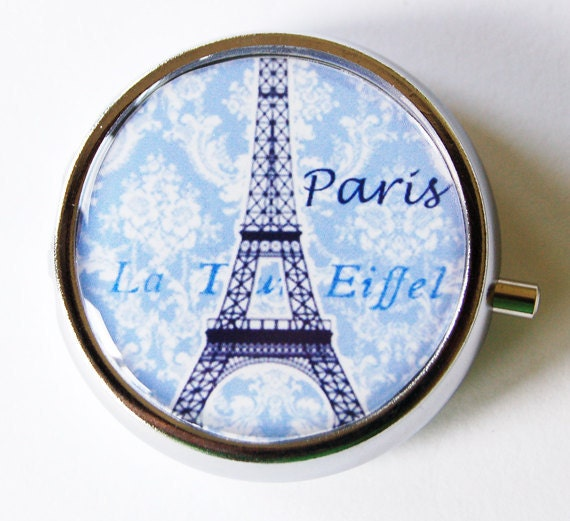 Paris Pill Box, Pill Case, Pill Container, Gift for her, Mint case, Candy container, Paris, Eiffel Tower, Blue