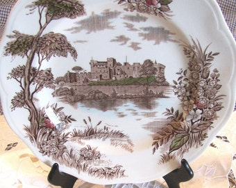 Vintage British Anchor English Brown Transferware Plate Hand Engraved