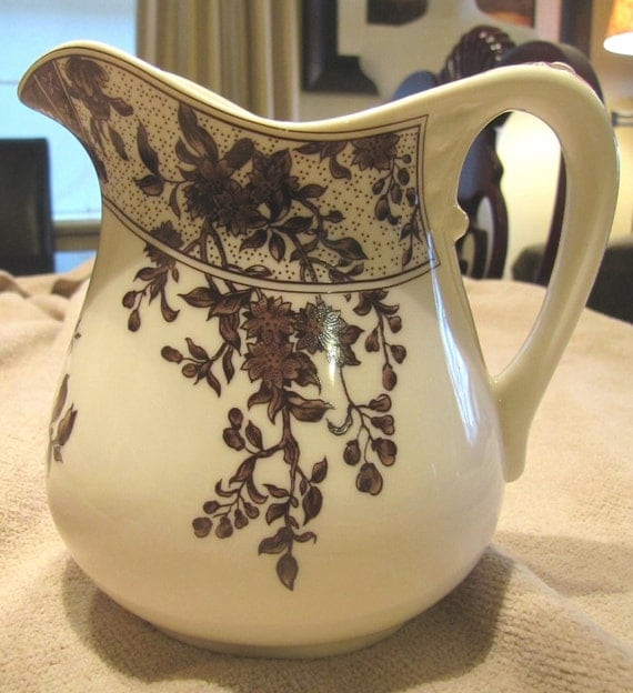 RESERVED JACKIE HABERLE English Country Vintage Brown And Cream Transferware Pitcher