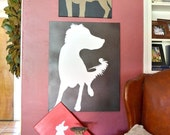 """30"""" Canvas Dog Silhouette Painting Customized for Your Pet in Your Choice of Colors"""
