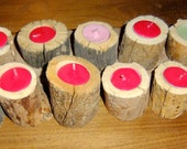 Mini Wood Tea Light Candle Home made Holder