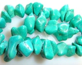 8 Beads Teal Green Turquoise  Chunky Nuggets