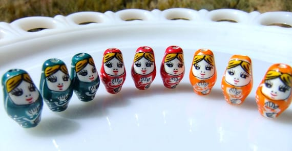 1  Matryoshka Doll Hand Painted Bead Choose Color