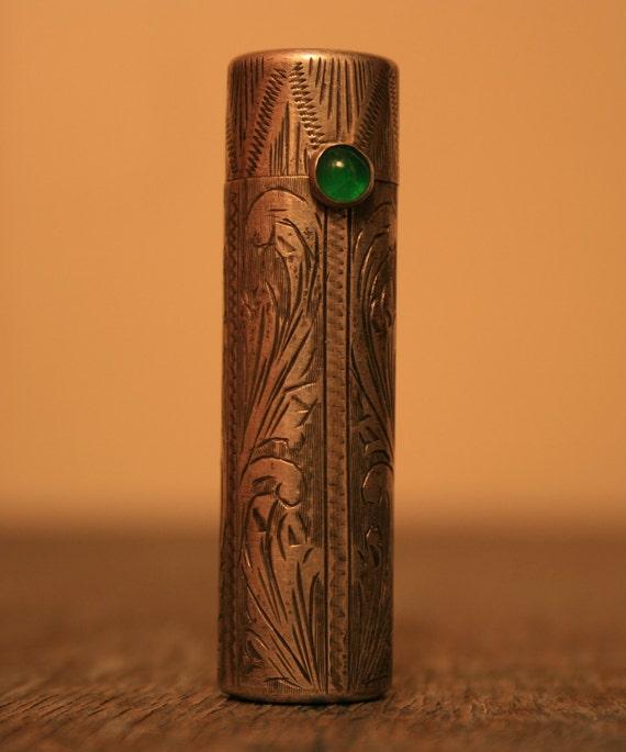 Antique Lipstick Case - Container - Holder - Engraved Sterling Silver 800 - BrandosFunkyFinds
