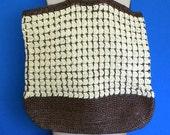 Brown and cream crochet tote, crochet raffia tote