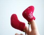Felt Christmas Ornaments - 1 pair red Christmas boots - valenki