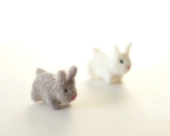 Small Toy Rabbits : Miniature felt rabbit toys needle felted bunny