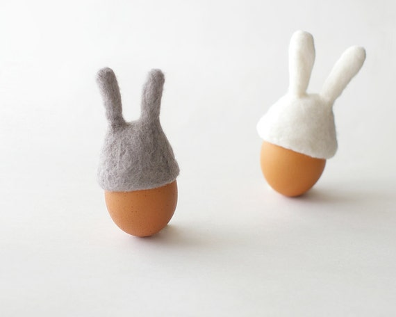 2 Easter Bunny Egg Warmer - cozy felted bunny rabbit eggs warmers - Easter gift